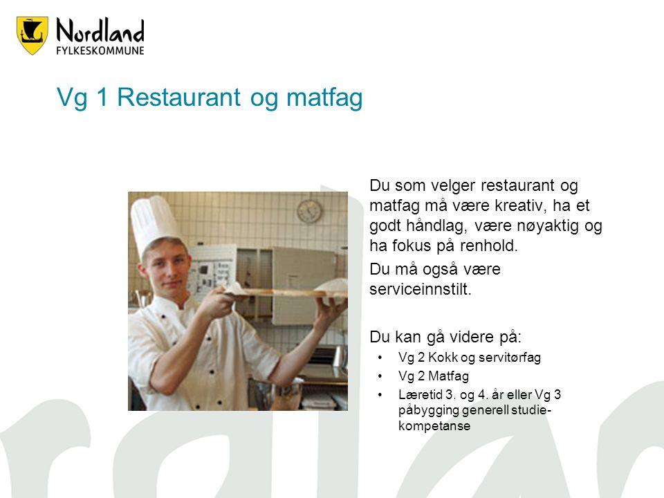 Vg 1 Restaurant og matfag Du som velger restaurant og matfag må være kreativ, ha et godt håndlag, være nøyaktig og ha fokus på renhold.