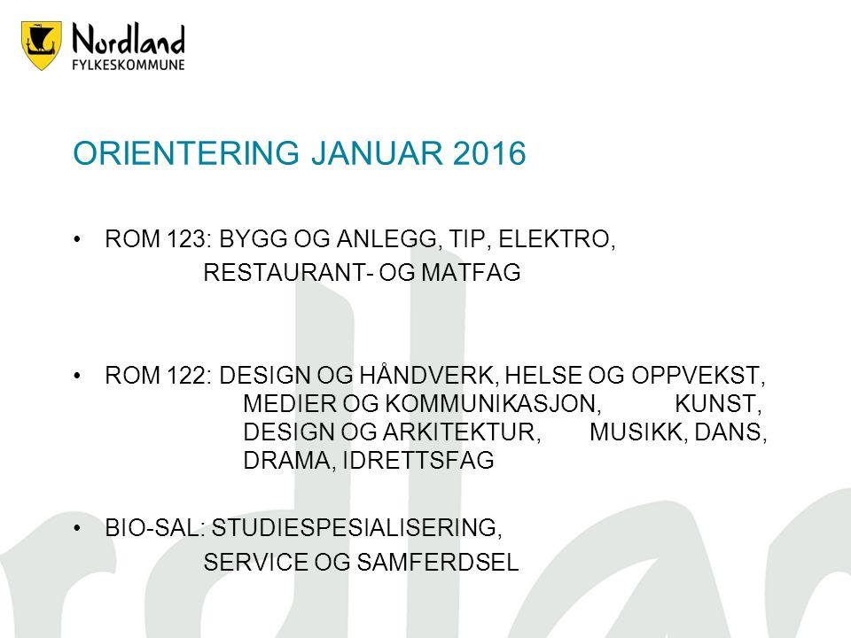 ORIENTERING JANUAR 2016 ROM 123: BYGG OG ANLEGG, TIP, ELEKTRO, RESTAURANT- OG MATFAG ROM 122: DESIGN OG HÅNDVERK, HELSE OG OPPVEKST, MEDIER OG KOMMUNIKASJON, KUNST, DESIGN OG ARKITEKTUR, MUSIKK, DANS, DRAMA, IDRETTSFAG BIO-SAL: STUDIESPESIALISERING, SERVICE OG SAMFERDSEL