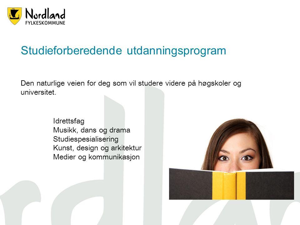 Studieforberedende utdanningsprogram Den naturlige veien for deg som vil studere videre på høgskoler og universitet.