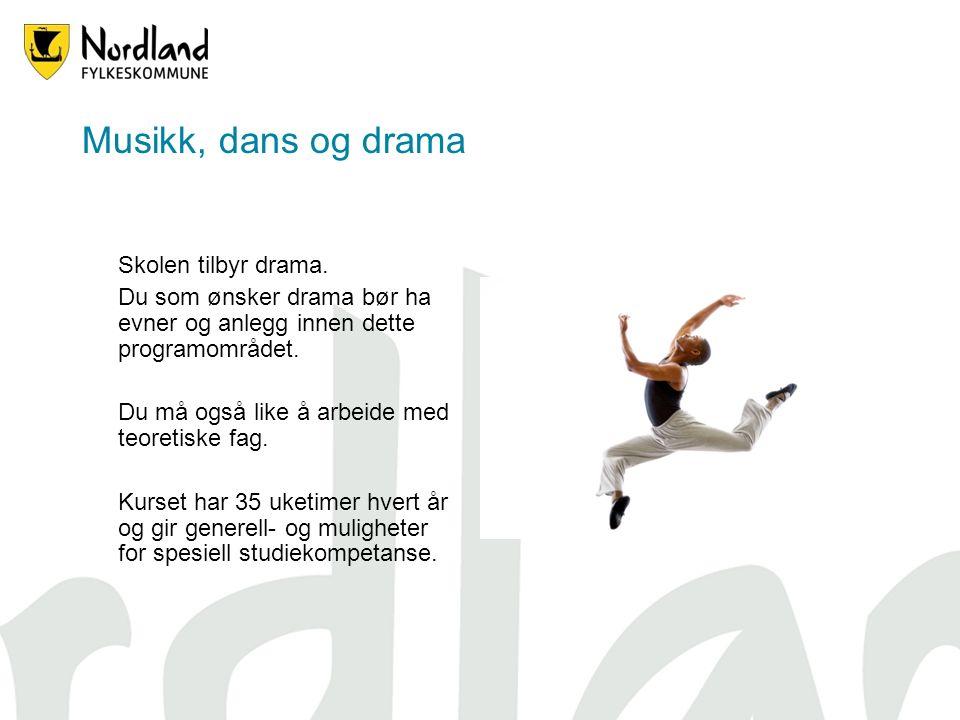 Musikk, dans og drama Skolen tilbyr drama.