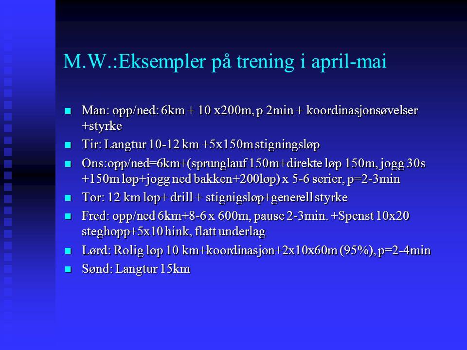 M.W.:Eksempler på trening i april-mai Man: opp/ned: 6km + 10 x200m, p 2min + koordinasjonsøvelser +styrke Man: opp/ned: 6km + 10 x200m, p 2min + koordinasjonsøvelser +styrke Tir: Langtur 10-12 km +5x150m stigningsløp Tir: Langtur 10-12 km +5x150m stigningsløp Ons:opp/ned=6km+(sprunglauf 150m+direkte løp 150m, jogg 30s +150m løp+jogg ned bakken+200løp) x 5-6 serier, p=2-3min Ons:opp/ned=6km+(sprunglauf 150m+direkte løp 150m, jogg 30s +150m løp+jogg ned bakken+200løp) x 5-6 serier, p=2-3min Tor: 12 km løp+ drill + stignigsløp+generell styrke Tor: 12 km løp+ drill + stignigsløp+generell styrke Fred: opp/ned 6km+8-6 x 600m, pause 2-3min.