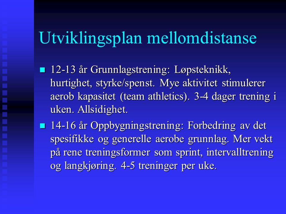 Utviklingsplan mellomdistanse 12-13 år Grunnlagstrening: Løpsteknikk, hurtighet, styrke/spenst.