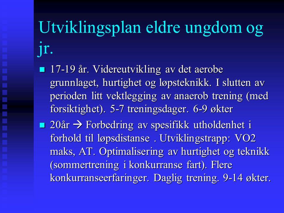 Eksempler på trening i unge år for en utøver som senere vant Nordisk mesterskap i terrengløp for junior.