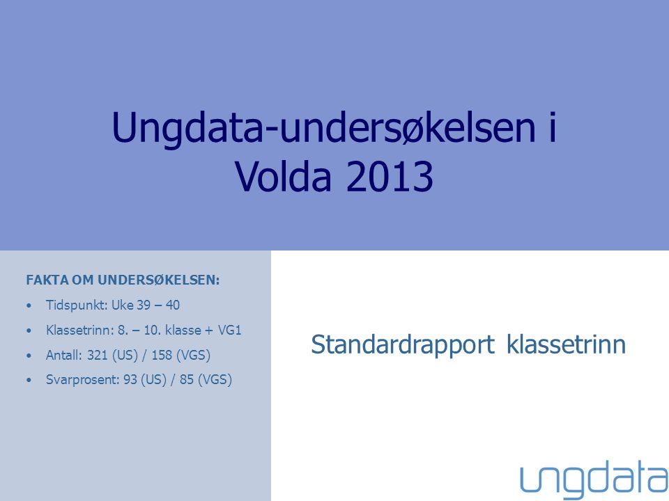 Ungdata-undersøkelsen i Volda 2013 Standardrapport klassetrinn FAKTA OM UNDERSØKELSEN: Tidspunkt: Uke 39 – 40 Klassetrinn: 8. – 10. klasse + VG1 Antal
