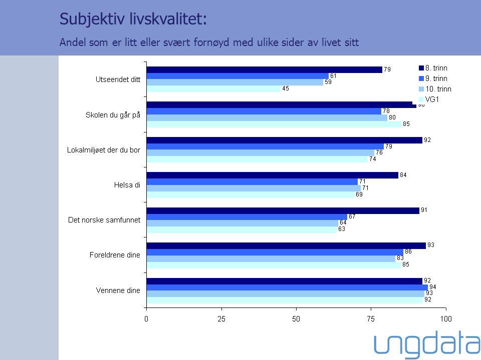Subjektiv livskvalitet: Andel som er litt eller svært fornøyd med ulike sider av livet sitt