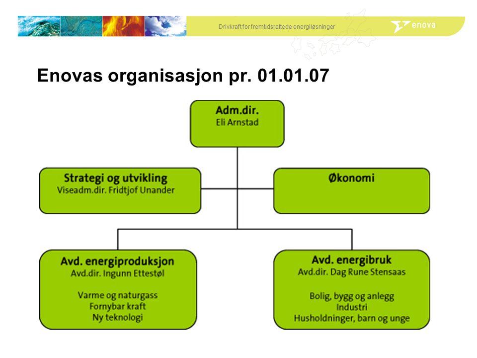 Drivkraft for fremtidsrettede energiløsninger Enovas organisasjon pr. 01.01.07