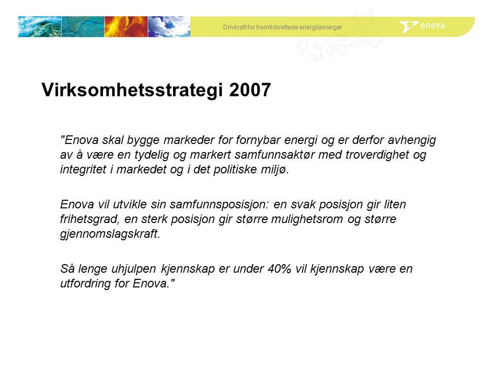 Drivkraft for fremtidsrettede energiløsninger Virksomhetsstrategi 2007 Enova skal bygge markeder for fornybar energi og er derfor avhengig av å være en tydelig og markert samfunnsaktør med troverdighet og integritet i markedet og i det politiske miljø.