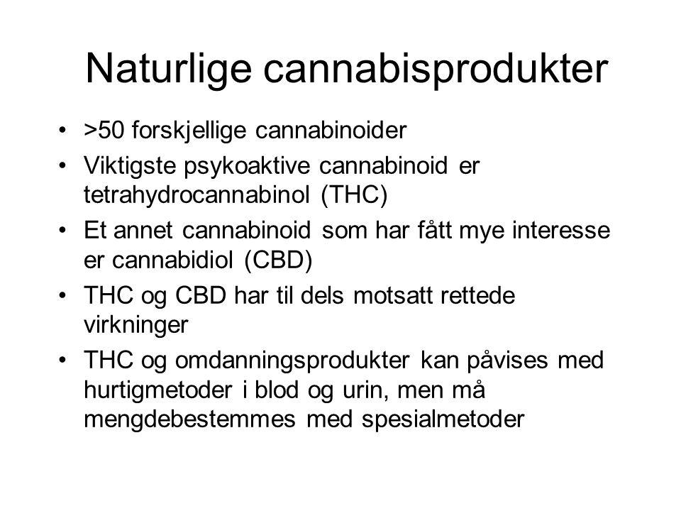 Naturlige cannabisprodukter >50 forskjellige cannabinoider Viktigste psykoaktive cannabinoid er tetrahydrocannabinol (THC) Et annet cannabinoid som har fått mye interesse er cannabidiol (CBD) THC og CBD har til dels motsatt rettede virkninger THC og omdanningsprodukter kan påvises med hurtigmetoder i blod og urin, men må mengdebestemmes med spesialmetoder
