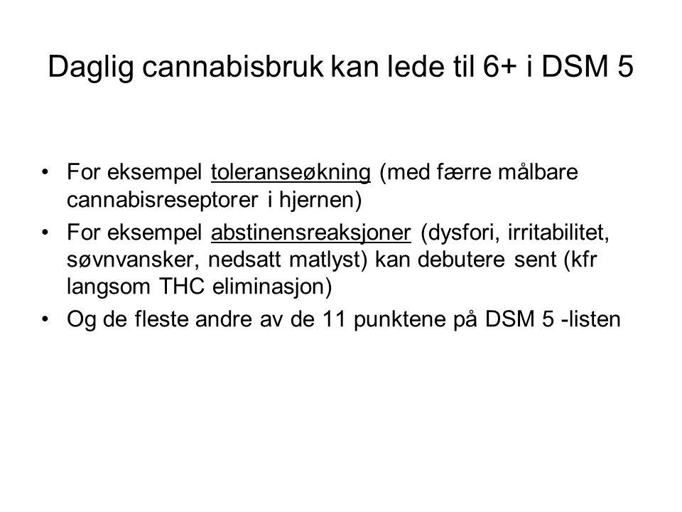 Daglig cannabisbruk kan lede til 6+ i DSM 5 For eksempel toleranseøkning (med færre målbare cannabisreseptorer i hjernen) For eksempel abstinensreaksjoner (dysfori, irritabilitet, søvnvansker, nedsatt matlyst) kan debutere sent (kfr langsom THC eliminasjon) Og de fleste andre av de 11 punktene på DSM 5 -listen