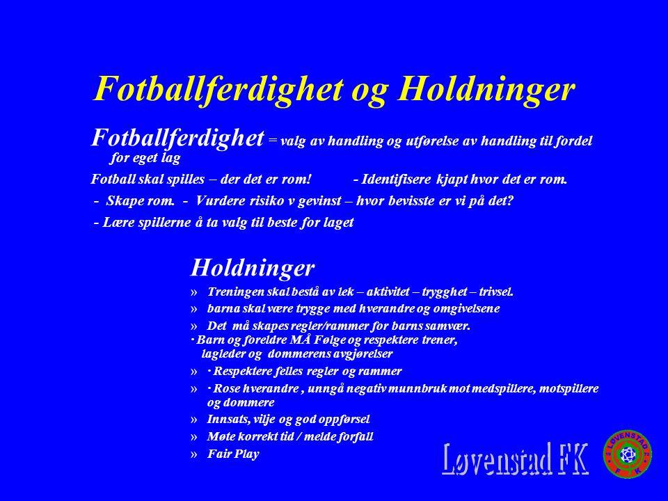 Fotballferdighet og Holdninger Fotballferdighet = valg av handling og utførelse av handling til fordel for eget lag Fotball skal spilles – der det er rom.