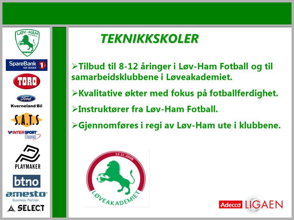 TEKNIKKSKOLER  Tilbud til 8-12 åringer i Løv-Ham Fotball og til samarbeidsklubbene i Løveakademiet.  Kvalitative økter med fokus på fotballferdighet