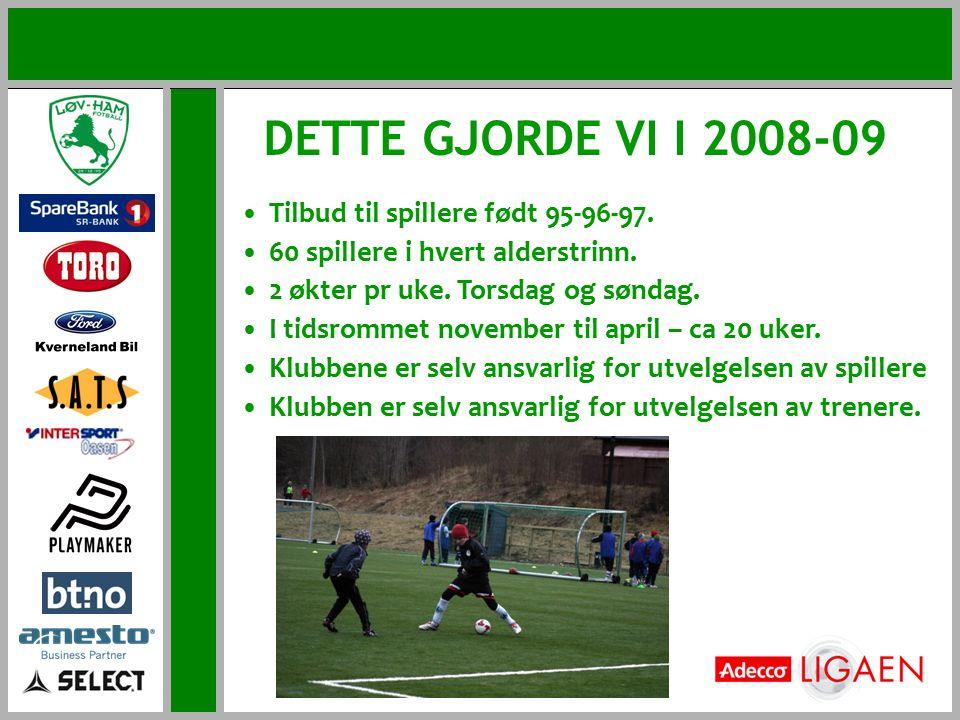 DETTE GJORDE VI I 2008-09 Tilbud til spillere født 95-96-97. 60 spillere i hvert alderstrinn. 2 økter pr uke. Torsdag og søndag. I tidsrommet november