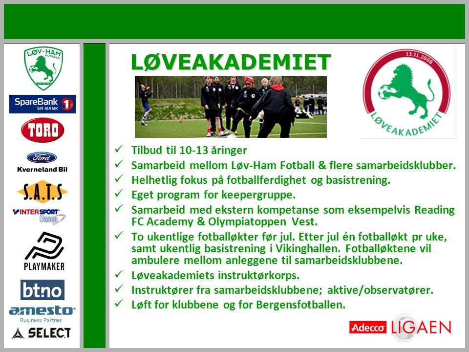 LØVEAKADEMIET Tilbud til 10-13 åringer Samarbeid mellom Løv-Ham Fotball & flere samarbeidsklubber. Helhetlig fokus på fotballferdighet og basistrening