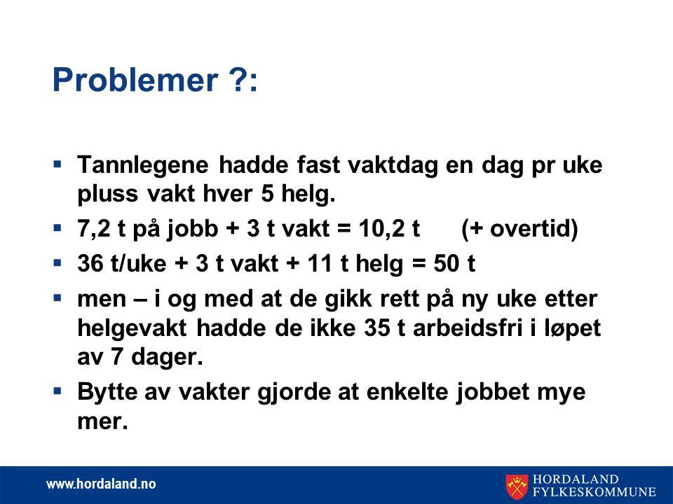 www.hordaland.no Valgt løsning:  Bruke SFS 2304 med individuelle avtaler om økt klinisk virksomhet.