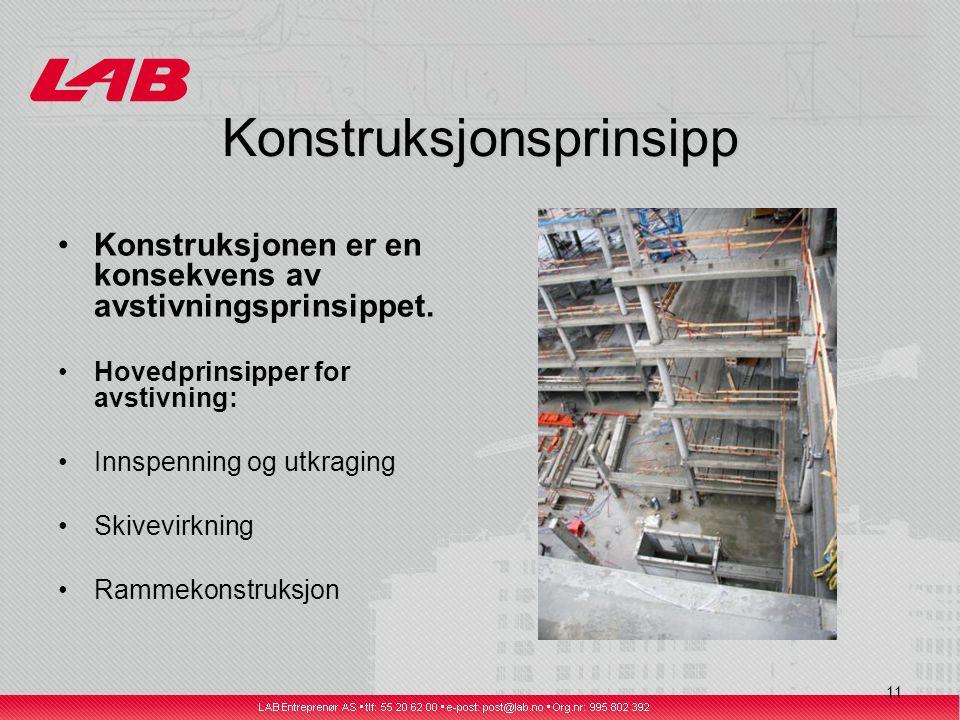 11 Konstruksjonsprinsipp Konstruksjonen er en konsekvens av avstivningsprinsippet.