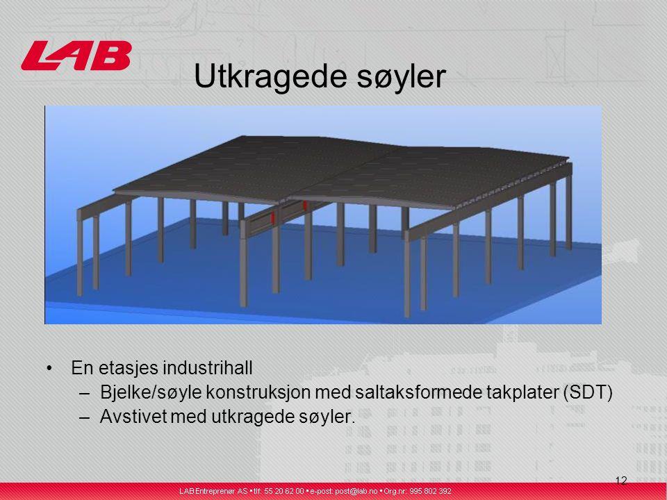 12 Utkragede søyler En etasjes industrihall –Bjelke/søyle konstruksjon med saltaksformede takplater (SDT) –Avstivet med utkragede søyler.