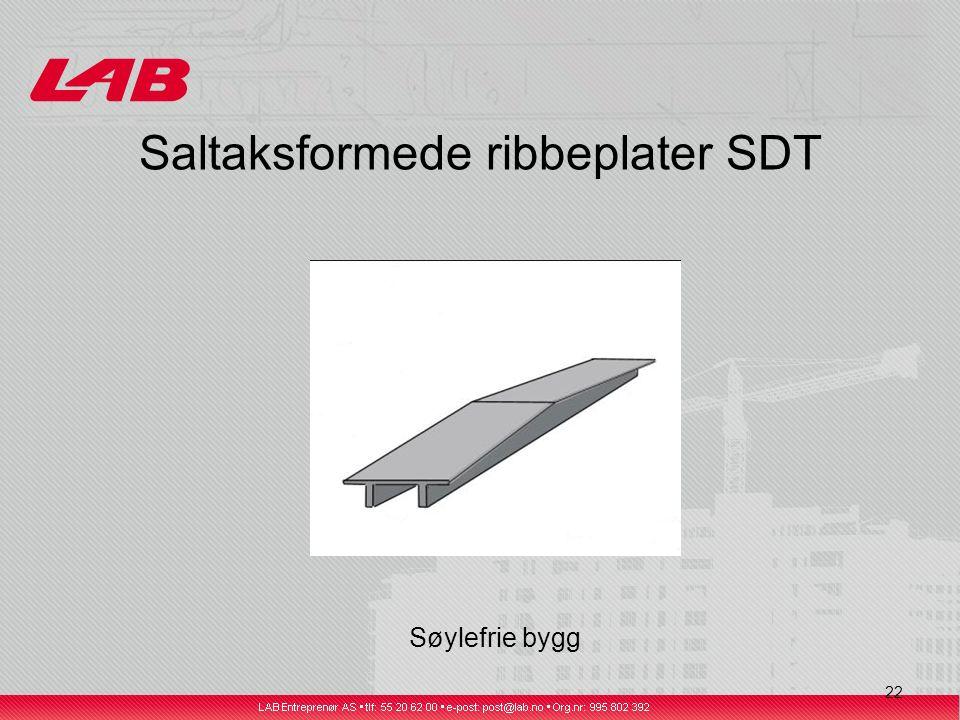 22 Saltaksformede ribbeplater SDT Søylefrie bygg