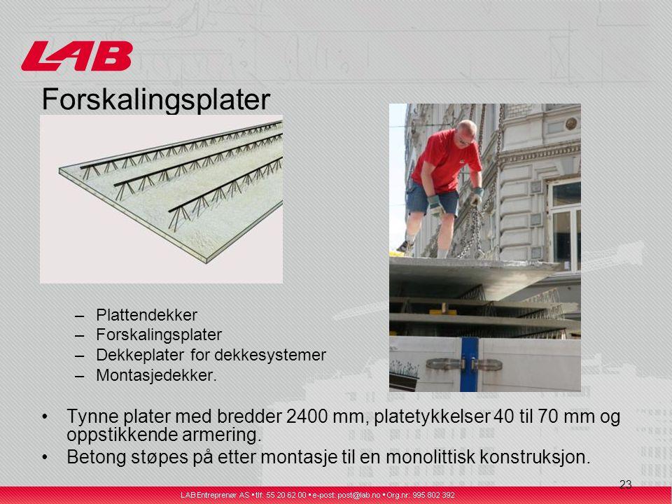 23 Forskalingsplater –Plattendekker –Forskalingsplater –Dekkeplater for dekkesystemer –Montasjedekker.