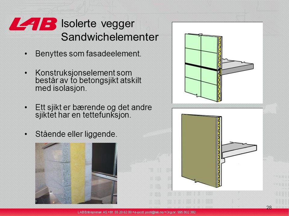 28 Isolerte vegger Sandwichelementer Benyttes som fasadeelement.