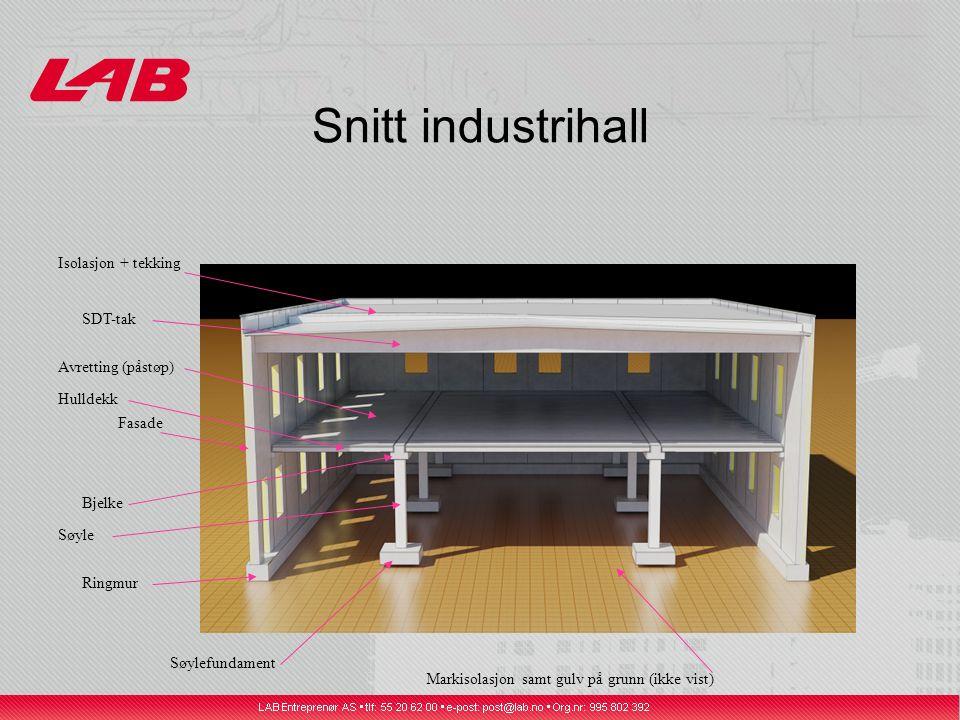 Snitt industrihall Fasade SDT-tak Hulldekk Ringmur Bjelke Isolasjon + tekking Avretting (påstøp) Søyle Søylefundament Markisolasjon samt gulv på grunn (ikke vist)
