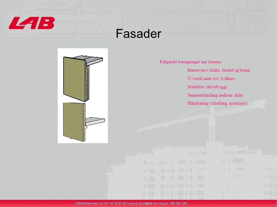 Fasader Følgende beregninger må foretas: Bæreevne i bruks, brudd og brann U-verdi samt evt.