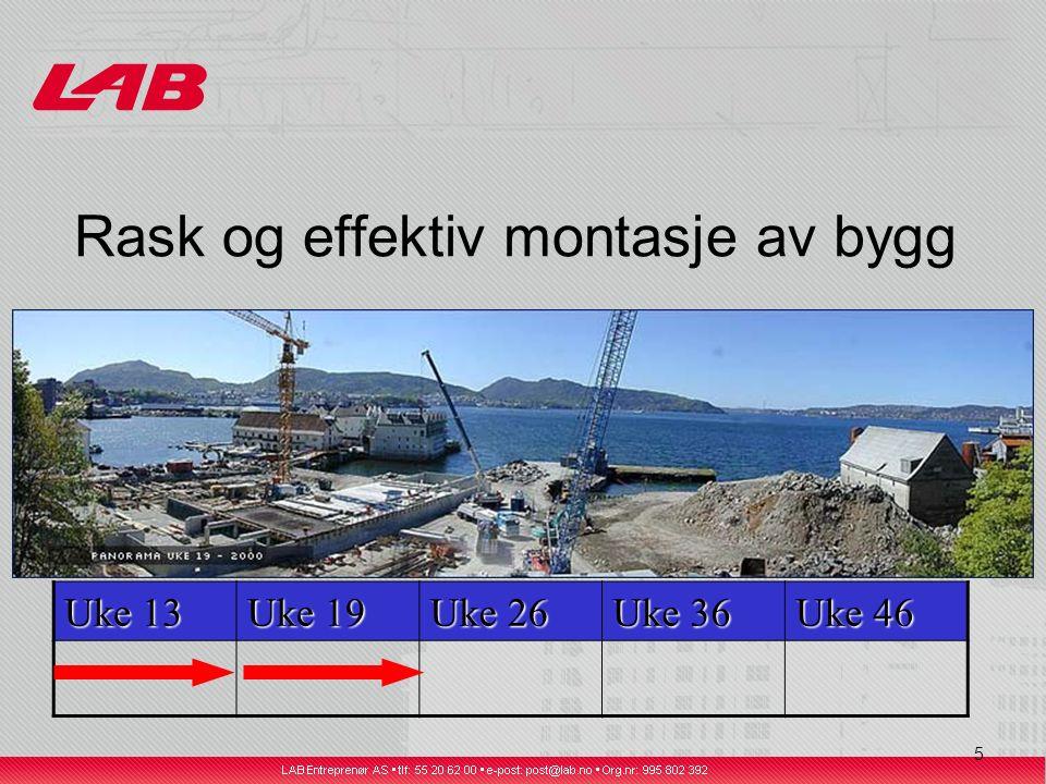 6 Rask og effektiv montasje av bygg Uke 13 Uke 19 Uke 26 Uke 36 Uke 46