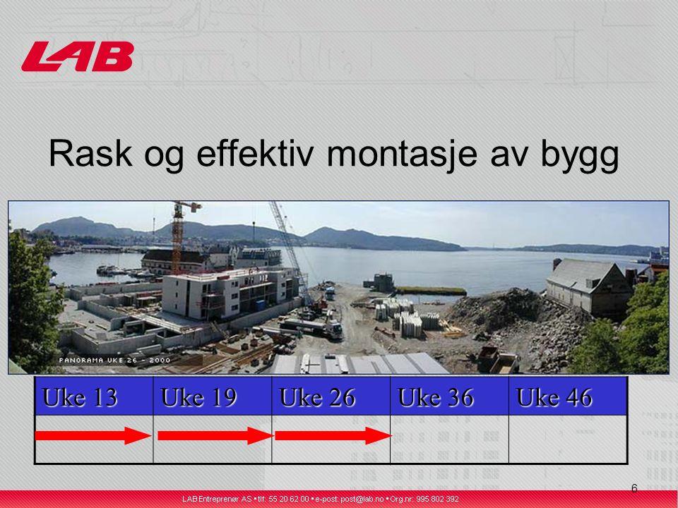 7 Rask og effektiv montasje av bygg Uke 13 Uke 19 Uke 26 Uke 36 Uke 46