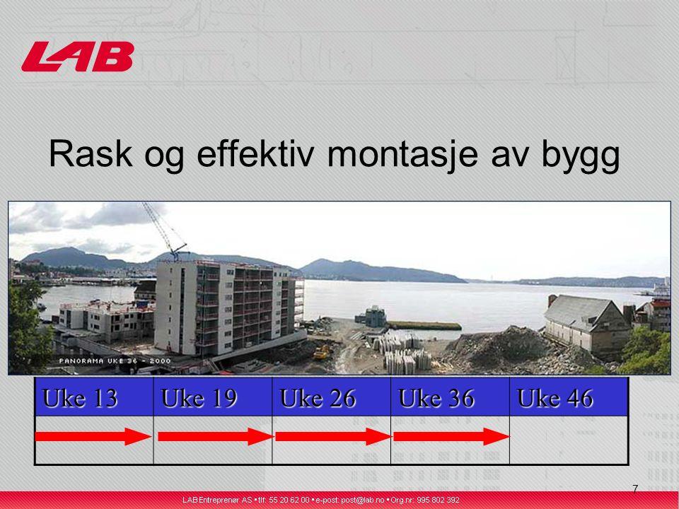 8 Rask og effektiv montasje av bygg Uke 13 Uke 19 Uke 26 Uke 36 Uke 46
