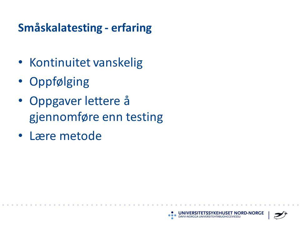 Kontinuitet vanskelig Oppfølging Oppgaver lettere å gjennomføre enn testing Lære metode Småskalatesting - erfaring