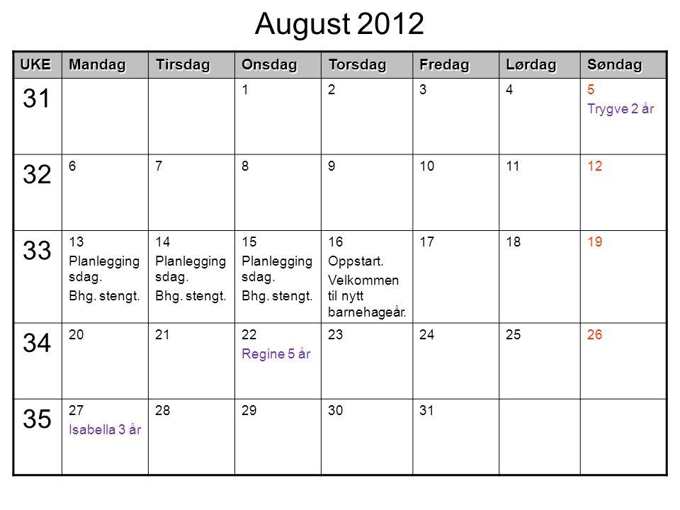 August 2012UKEMandagTirsdagOnsdagTorsdagFredagLørdagSøndag 31 12345 Trygve 2 år 32 6789101112 33 13 Planlegging sdag. Bhg. stengt. 14 Planlegging sdag