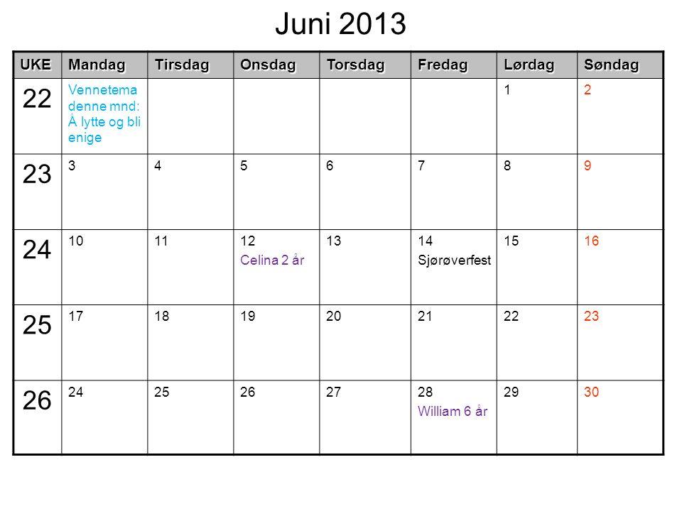 Juni 2013UKEMandagTirsdagOnsdagTorsdagFredagLørdagSøndag 22 Vennetema denne mnd: Å lytte og bli enige 12 23 3456789 24 101112 Celina 2 år 1314 Sjørøve