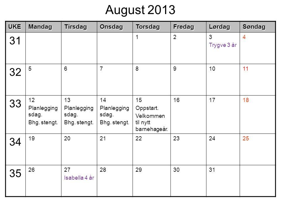 August 2013UKEMandagTirsdagOnsdagTorsdagFredagLørdagSøndag 31 123 Trygve 3 år 4 32 567891011 33 12 Planlegging sdag. Bhg. stengt. 13 Planlegging sdag.