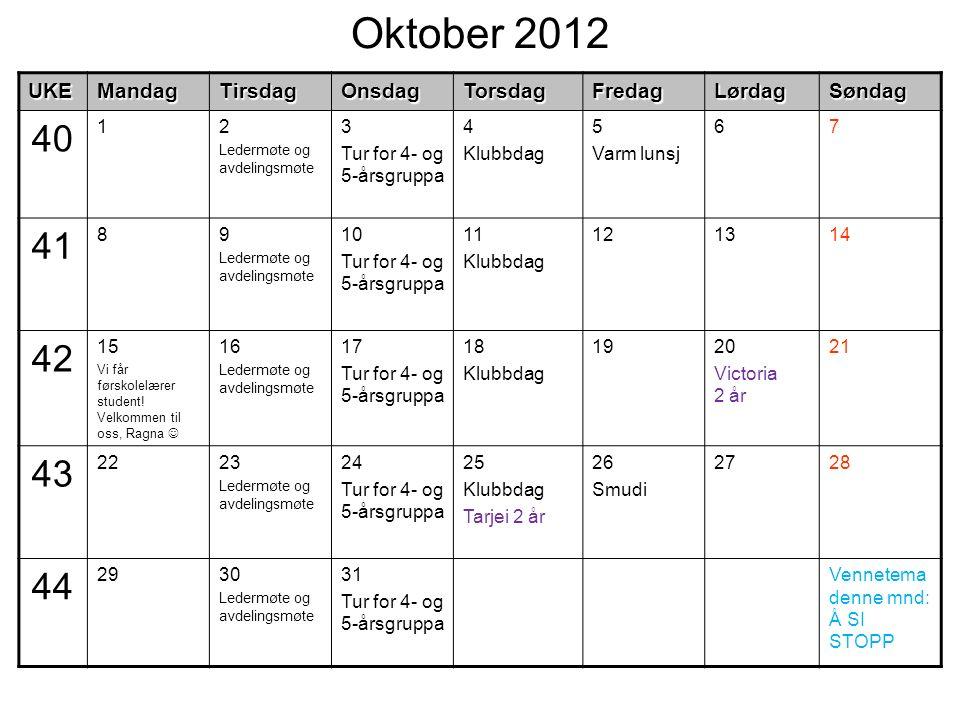 Oktober 2012UKEMandagTirsdagOnsdagTorsdagFredagLørdagSøndag 40 12 Ledermøte og avdelingsmøte 3 Tur for 4- og 5-årsgruppa 4 Klubbdag 5 Varm lunsj 67 41