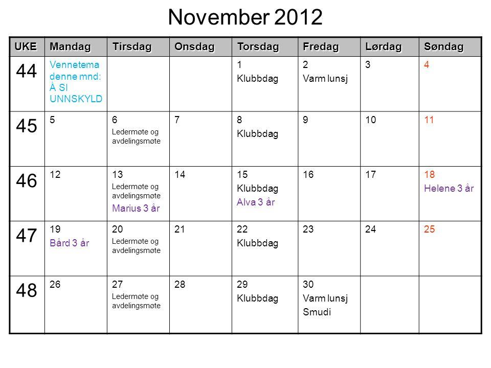 November 2012UKEMandagTirsdagOnsdagTorsdagFredagLørdagSøndag 44 Vennetema denne mnd: Å SI UNNSKYLD 1 Klubbdag 2 Varm lunsj 34 45 56 Ledermøte og avdel