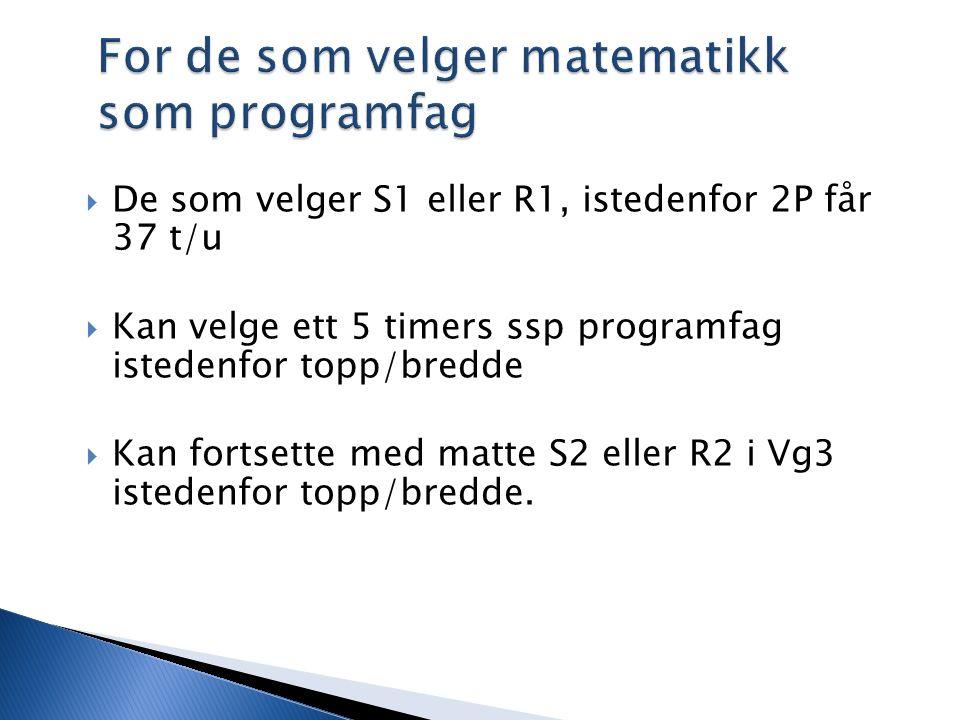 For de som velger matematikk som programfag  De som velger S1 eller R1, istedenfor 2P får 37 t/u  Kan velge ett 5 timers ssp programfag istedenfor topp/bredde  Kan fortsette med matte S2 eller R2 i Vg3 istedenfor topp/bredde.