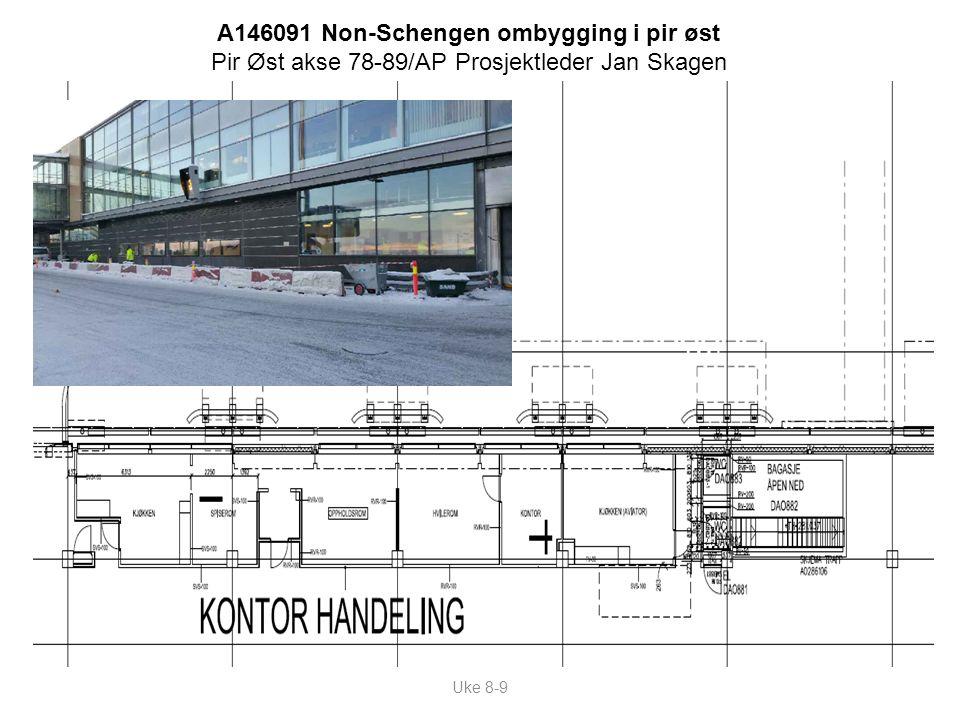 Uke 8-9 A146091 Non-Schengen ombygging i pir øst Pir Øst akse 78-89/AP Prosjektleder Jan Skagen
