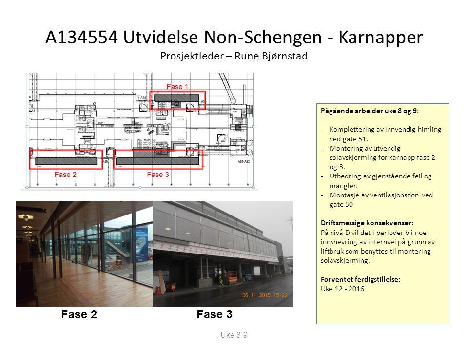 A134554 Utvidelse Non-Schengen - Karnapper Prosjektleder – Rune Bjørnstad Pågående arbeider uke 8 og 9: -Komplettering av innvendig himling ved gate 51.
