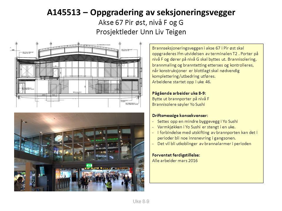 A145513 – Oppgradering av seksjoneringsvegger Akse 67 Pir øst, nivå F og G Prosjektleder Unn Liv Teigen Uke 8-9 Brannseksjoneringsveggen i akse 67 i Pir øst skal oppgraderes ifm utvidelsen av terminalen T2.