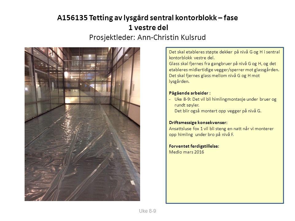 A156135 Tetting av lysgård sentral kontorblokk – fase 1 vestre del Prosjektleder: Ann-Christin Kulsrud Uke 8-9 Det skal etableres støpte dekker på nivå G og H i sentral kontorblokk vestre del.