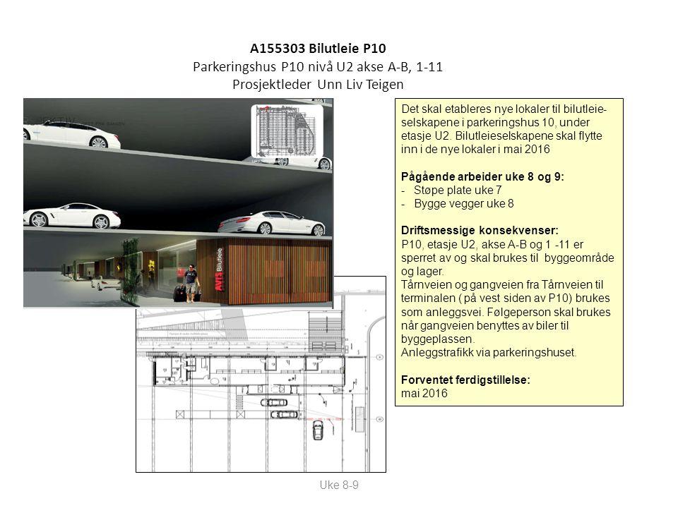 A155303 Bilutleie P10 Parkeringshus P10 nivå U2 akse A-B, 1-11 Prosjektleder Unn Liv Teigen Uke 8-9 Det skal etableres nye lokaler til bilutleie- selskapene i parkeringshus 10, under etasje U2.