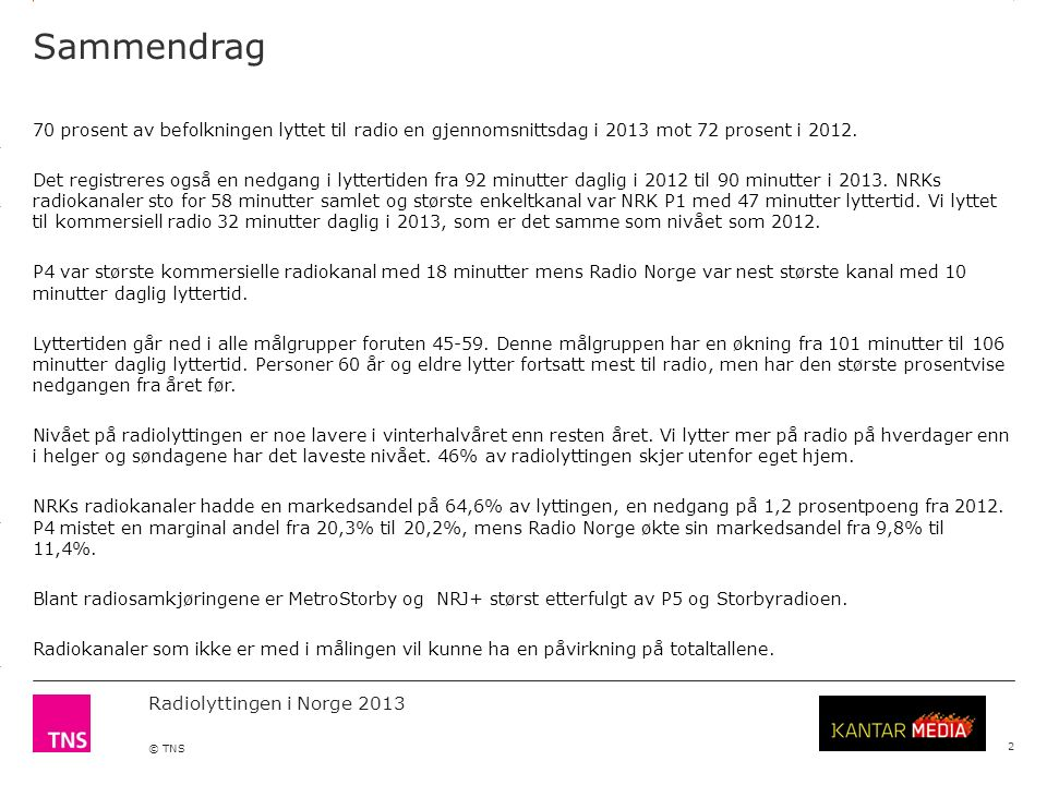 3.14 X AXIS 6.65 BASE MARGIN 5.95 TOP MARGIN 4.52 CHART TOP 11.90 LEFT MARGIN 11.90 RIGHT MARGIN Radiolyttingen i Norge 2013 © TNS Daglig lyttertid nasjonale kanaler per måned 2013 13