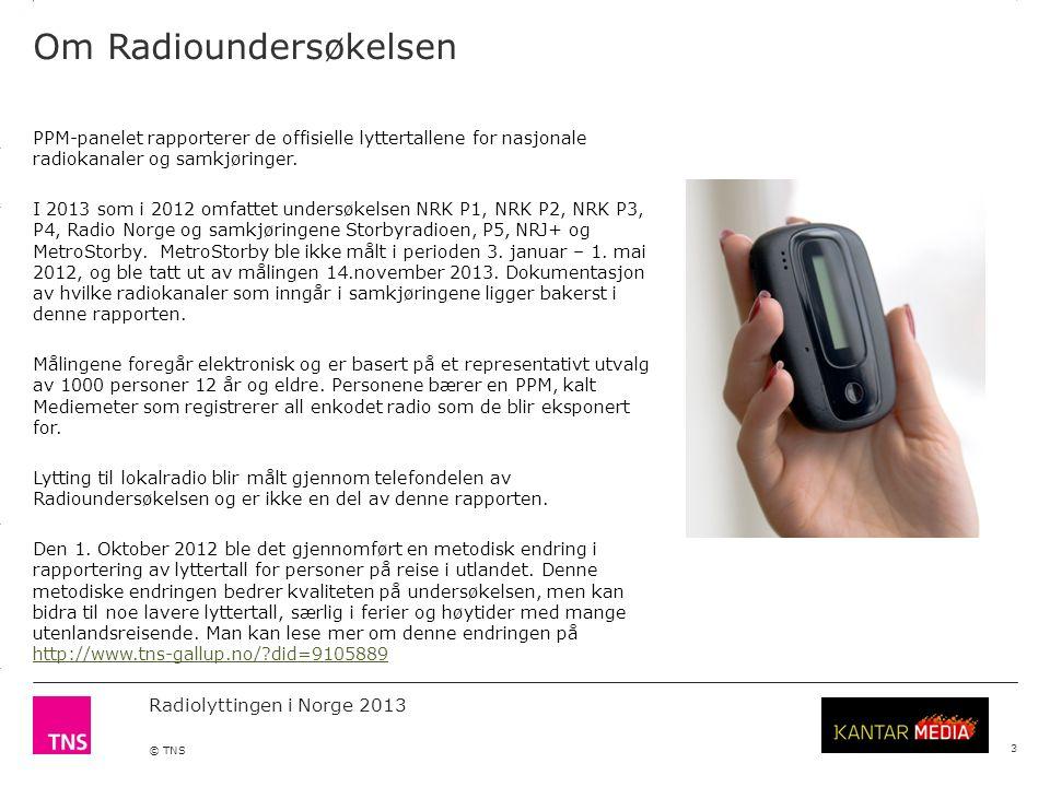 3.14 X AXIS 6.65 BASE MARGIN 5.95 TOP MARGIN 4.52 CHART TOP 11.90 LEFT MARGIN 11.90 RIGHT MARGIN Radiolyttingen i Norge 2013 © TNS 3 Markedsandeler
