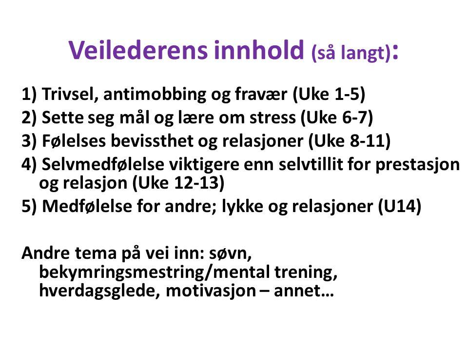 Veilederens innhold (så langt) : 1) Trivsel, antimobbing og fravær (Uke 1-5) 2) Sette seg mål og lære om stress (Uke 6-7) 3) Følelses bevissthet og relasjoner (Uke 8-11) 4) Selvmedfølelse viktigere enn selvtillit for prestasjon og relasjon (Uke 12-13) 5) Medfølelse for andre; lykke og relasjoner (U14) Andre tema på vei inn: søvn, bekymringsmestring/mental trening, hverdagsglede, motivasjon – annet…