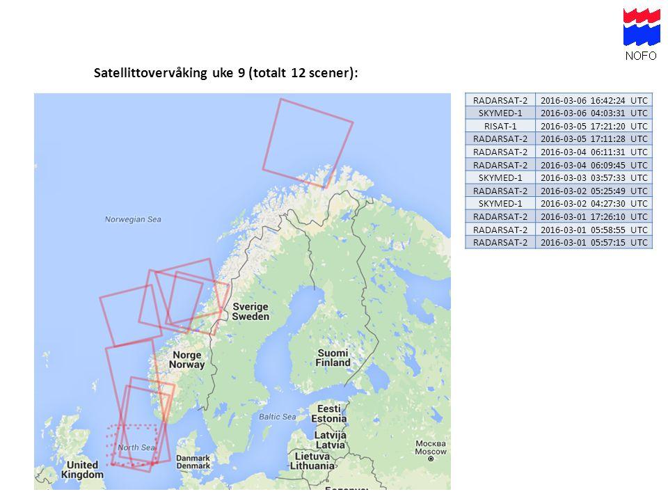 Satellittovervåking uke 9 (totalt 12 scener): RADARSAT-22016-03-06 16:42:24 UTC SKYMED-12016-03-06 04:03:31 UTC RISAT-12016-03-05 17:21:20 UTC RADARSA