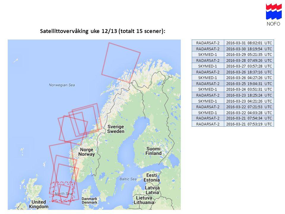 Satellittovervåking uke 12/13 (totalt 15 scener): RADARSAT-22016-03-31 08:02:01 UTC RADARSAT-22016-03-30 18:19:54 UTC SKYMED-12016-03-29 05:21:35 UTC RADARSAT-22016-03-28 07:49:26 UTC SKYMED-12016-03-27 03:57:28 UTC RADARSAT-22016-03-26 18:37:16 UTC SKYMED-12016-03-26 04:27:26 UTC RADARSAT-22016-03-25 19:04:31 UTC SKYMED-12016-03-24 03:51:31 UTC RADARSAT-22016-03-23 18:25:24 UTC SKYMED-12016-03-23 04:21:26 UTC RADARSAT-22016-03-22 07:21:53 UTC SKYMED-12016-03-22 04:03:28 UTC RADARSAT-22016-03-21 07:54:34 UTC RADARSAT-22016-03-21 07:53:19 UTC