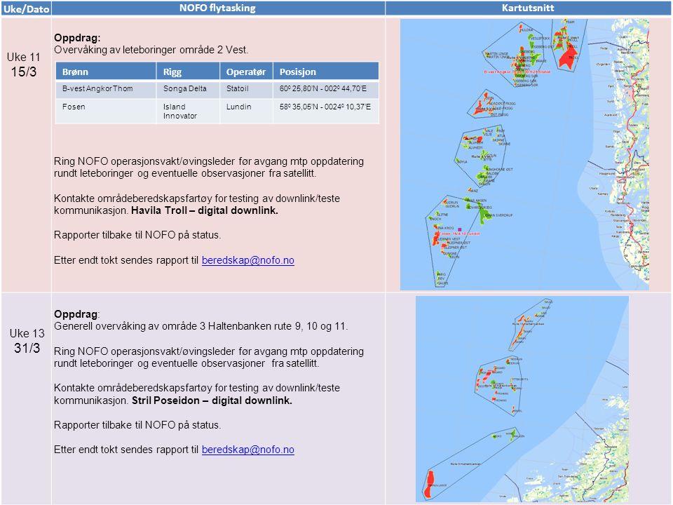 Uke/Dato NOFO flytaskingKartutsnitt Uke 11 15/3 Oppdrag: Overvåking av leteboringer område 2 Vest. Ring NOFO operasjonsvakt/øvingsleder før avgang mtp