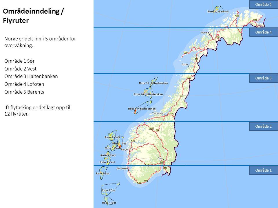 Områdeinndeling / Flyruter Norge er delt inn i 5 områder for overvåkning. Område 1 Sør Område 2 Vest Område 3 Haltenbanken Område 4 Lofoten Område 5 B