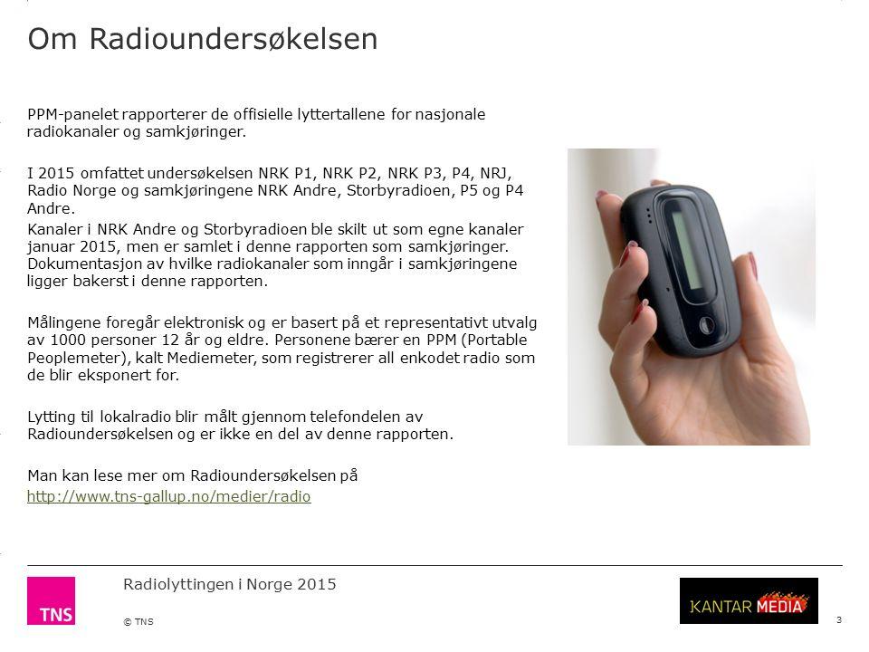 3.14 X AXIS 6.65 BASE MARGIN 5.95 TOP MARGIN 4.52 CHART TOP 11.90 LEFT MARGIN 11.90 RIGHT MARGIN Radiolyttingen i Norge 2015 © TNS 3 PPM-panelet rapporterer de offisielle lyttertallene for nasjonale radiokanaler og samkjøringer.