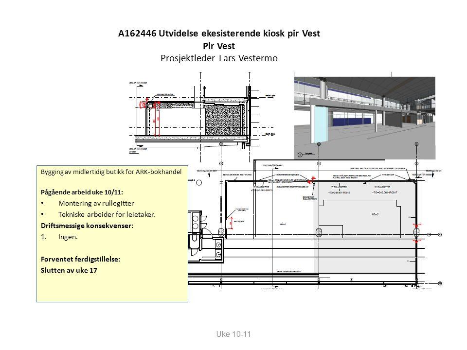 A162446 Utvidelse ekesisterende kiosk pir Vest Pir Vest Prosjektleder Lars Vestermo Uke 10-11 Bygging av midlertidig butikk for ARK-bokhandel Pågående arbeid uke 10/11: Montering av rullegitter Tekniske arbeider for leietaker.