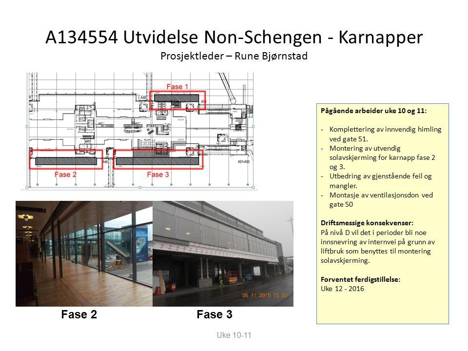 A134554 Utvidelse Non-Schengen - Karnapper Prosjektleder – Rune Bjørnstad Pågående arbeider uke 10 og 11: -Komplettering av innvendig himling ved gate 51.